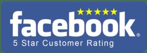5 Star Facebook reviews logo.